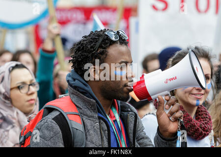 Bristol, UK, 5th March, 2016. Protesters are pictured as they take part in a 'save our NHS' march and demonstration - Stock Photo