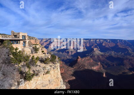 lookout studio grand canyon on sunny day blue sky - Stock Photo