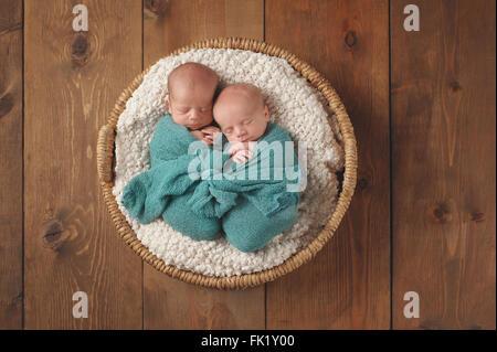 Newborn twin baby boys sleeping in a wicker basket. - Stock Photo