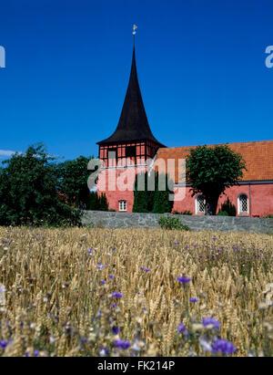 Svaneke  church,  Bornholm island, Denmark, Scandinavia, Europe - Stock Photo