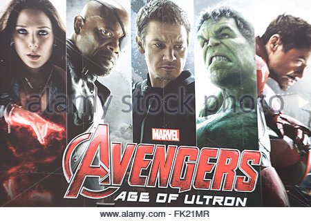 Poster advertising the New avenger Movie 'The Age of Ultron' - Stock Photo