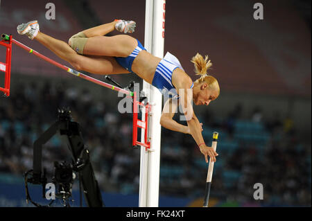 Nikoleta Kyriakopoulou from Greece competes at the women's Pole Vault. - Stock Photo