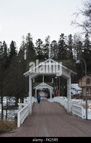 Wooden Bridge to Seurasaari Open-Air Museum - Stock Photo