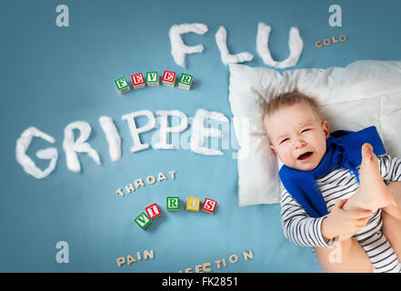 Baby boy crying in high chair stock photo 66806065 alamy ill boy lying in bed stock photo thecheapjerseys Choice Image