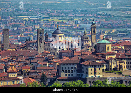 View at Old Town Citta Alta of Bergamo from San Vigilio Hill. Bergamo is a beautiful ancient town in Lombardy, Italy - Stock Photo