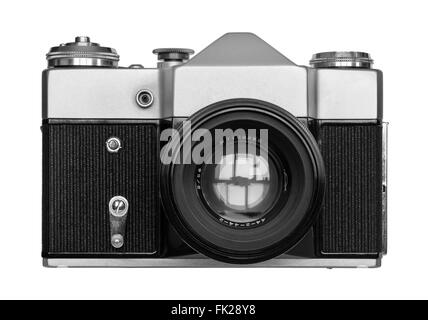 Old camera front view isolated over white background - Stock Photo