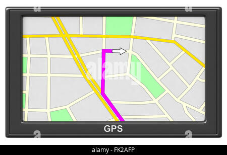 3d render of GPS navigation device isolated on white background - Stock Photo