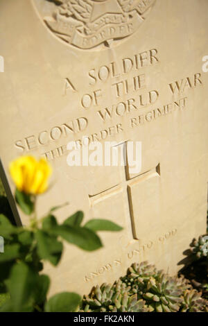 Gravestone of unknown second world war Allied soldier of the Border Regiment, Anzio War Cemetery, Italy. - Stock Photo