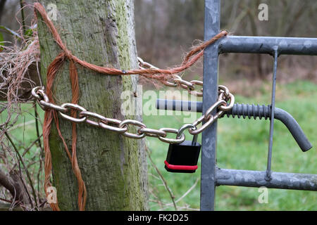 Padlocked gate to a field, March 2016 - Stock Photo