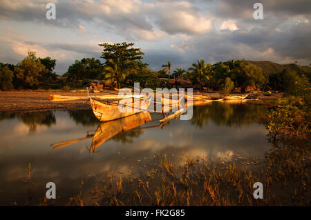 Sunset on a rural fishermen village in Northern Madagascar - Stock Photo