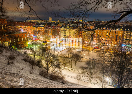 View northeast over Stockholm, seen from Observatorielunden, the old observatory hill in Norrmalm.  Street below - Stock Photo