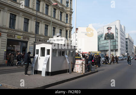Checkpoint Charlie crossing point between East Berlin and West Berlin, during the Cold War - Stock Photo