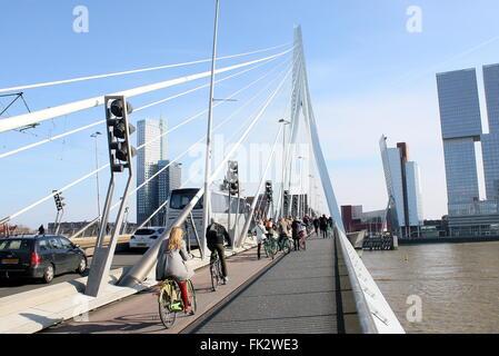Cyclists crossing the Iconic Erasmus bridge (Erasmusbrug), Rotterdam, Netherlands. Designed by Ben van Berkel, UNStudio, - Stock Photo