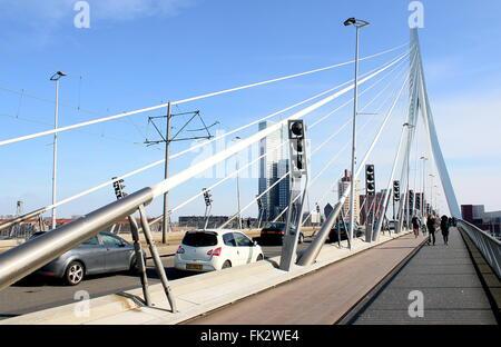 Iconic Erasmus bridge (Erasmusbrug), Rotterdam, Netherlands. Designed by Ben van Berkel, UNStudio, 1996 - Stock Photo
