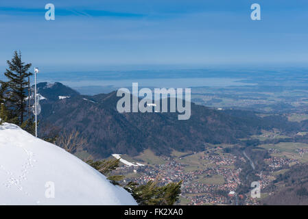 Panorama view from the mountains on lake Chiemsee and Ruhpolding - Stock Photo