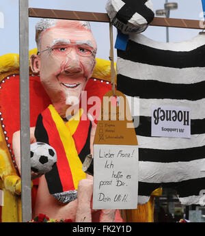 Dortmund, Germany. 06th Mar, 2016. A theme float features a figure of German soccer legend Franz Beckenbauer (L) - Stock Photo