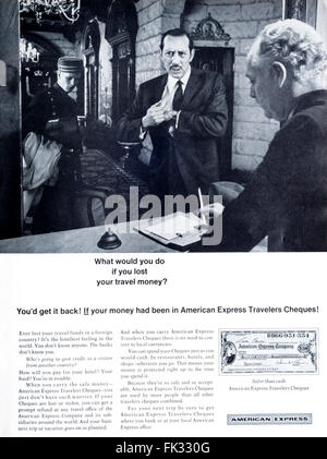 1960s magazine advertisement advertising American Express Travellers Cheques or Travelers Checks. - Stock Photo