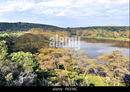 One of the numerous Crater Lakes in the Rift Valley of Kenya - Stock Photo