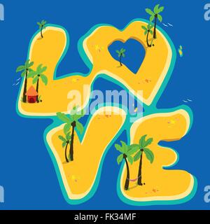Tropical islands forming the word love. - Stock Photo