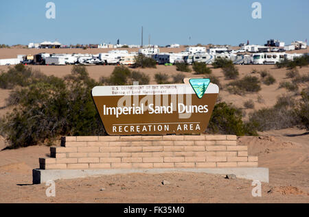 Western entrance to Imperial Sand Dunes Recreation Area, California USA - Stock Photo