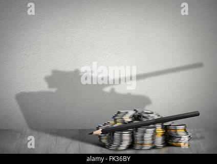financing war concept, money with tank shadow - Stock Photo