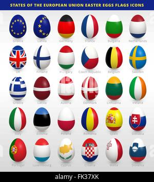 Easter eggs set with EU flags - Stock Photo