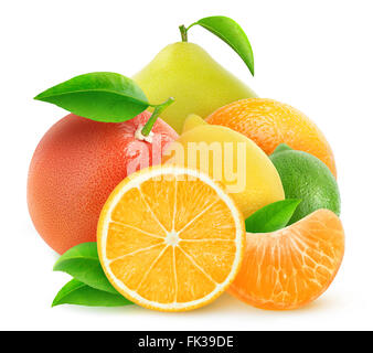 Pile of citrus fruits isolated on white with clipping path - Stock Photo