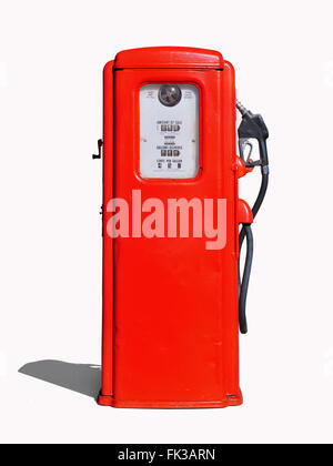 Vintage (retro) red gasoline pump - Stock Photo
