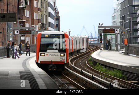 Train arrives at Baumwall U-Bahn Station on July 30, 2012 in Hamburg, Germany - Stock Photo