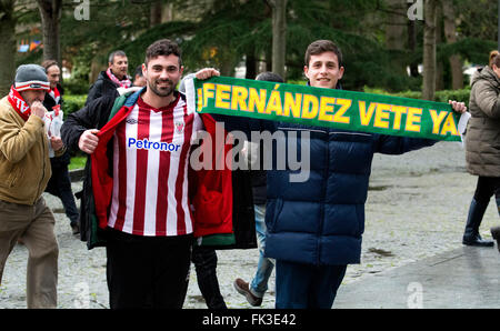 Gijon, Spain. 6th March, 2016. Supporters of Sporting de Gijon and Athletic after the football match of Spanish - Stock Photo