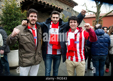 Gijon, Spain. 6th March, 2016. Supporters of Athletic Club after the football match of Spanish 'La Liga' between - Stock Photo