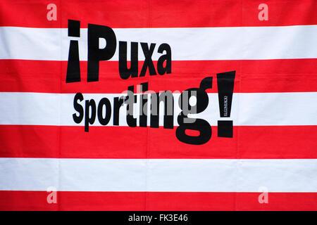 Gijon, Spain. 6th March, 2016. Flag of Real Sporting de Gijon during the football match of Spanish 'La Liga' between - Stock Photo