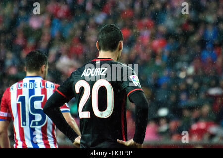 Gijon, Spain. 6th March, 2016. Aritz Aduriz (forward, Athletic Club) during the football match of Spanish 'La Liga' - Stock Photo