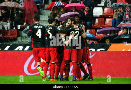Gijon, Spain. 6th March, 2016. Athletic Club's players celebrate their first goal during the football match of Spanish - Stock Photo