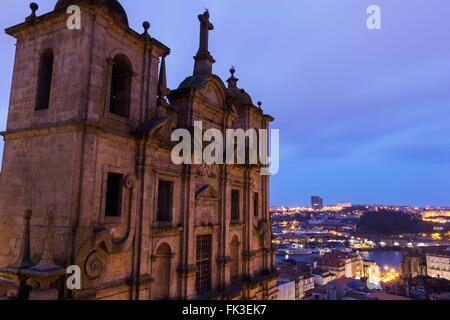 Igreja dos Grilos in Porto in Portugal in the morning - Stock Photo