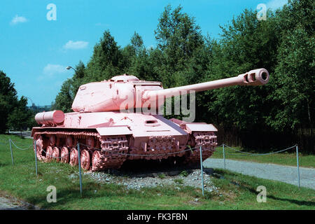 Famous Pink Tank IS-2 painted pink by Czech visual artist David Cerny displayed in the Military Technical Museum - Stock Photo