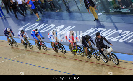 London, UK, 6 March 2016. UCI 2016 Track Cycling World Championships. Azebaijan's Sergii Omelchenko won the 'minor - Stock Photo