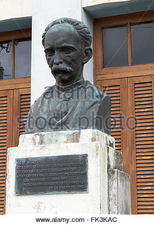 Jose Marti statue in Cuban School Colegio Champagnat Camaguey Maristas  The Maristas brethen are a Catholic congregation - Stock Photo