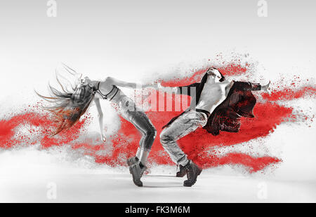 Blakc&white portrait of talented, young hip hop dancers - Stock Photo