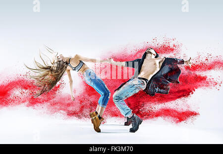 Conceptual image of a dancing young couple - Stock Photo
