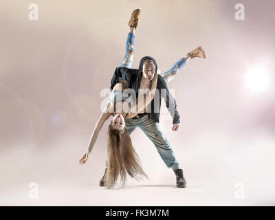 Young talented dancers practicing to the contest - Stock Photo