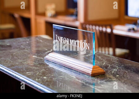 Information desk plate - USA - Stock Photo