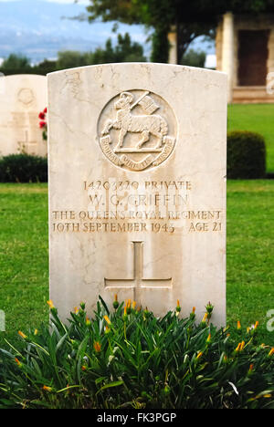 WWII. Salerno Commonwealth War Cemetery. The soldiers who fell in the battle during the landing of Salerno are buried - Stock Photo