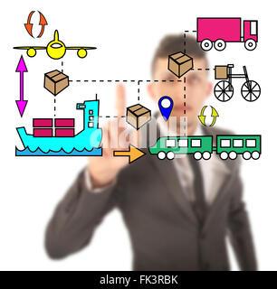 Unsharp businessman with logistic movements illustration - Stock Photo