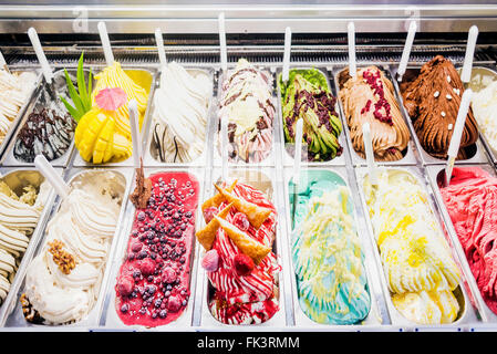 classic italian gourmet gelato gelatto ice cream display in shop - Stock Photo
