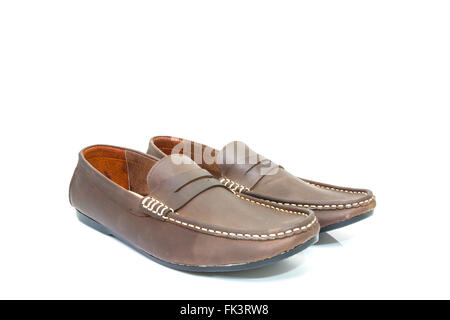 Male leather shoes isolated on the white background - Stock Photo