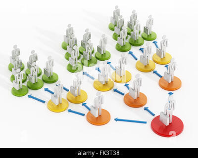 Business network diagram with circles connecting people. Stock Photo