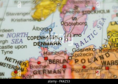 Beautiful photo of a map of Denmark and the capital Copenhagen . - Stock Photo