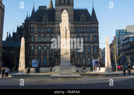 The Cenotaph in St. Peters Square in Manchester. - Stock Photo
