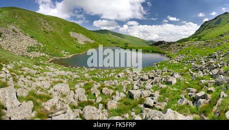 Brebeneskul Lake in Carpathian Mountains. One of the highest mountainous lakes in Ukraine - Stock Photo